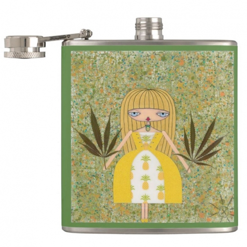 """Pineapple Girl"" Flask"
