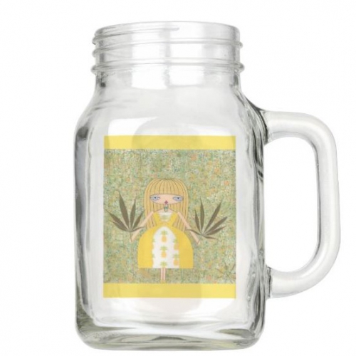 """Pineapple Girl"" Mason Jar Glass"